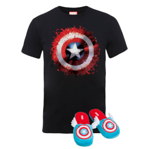 Marvel Captain America T-Shirt & Slippers Bundle - L/XL Slippers