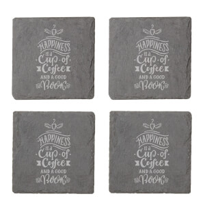 Happiness Is A Cup Of Coffee And A Good Book Engraved Slate Coaster Set