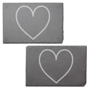 Heart Engraved Slate Placemat - Set of 2