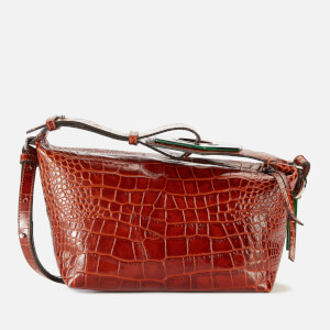 Ganni Women's Leather Croc Bag - Cognac