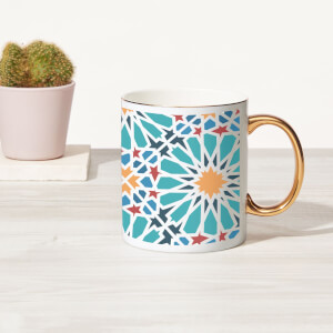 Flower Tile Bone China Gold Handle Mug
