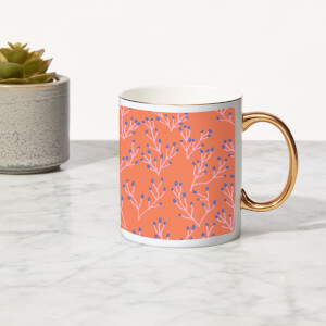 Coral Reef Bone China Gold Handle Mug
