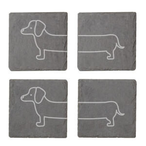 Sausage Dog Engraved Slate Coaster Set