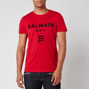 Balmain Men's Flock Logo T-Shirt - Red/Black