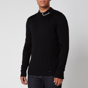 Balmain Men's Merino Wool Collar Logo Jumper - Black