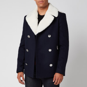 Balmain Men's Shearling Collar Badge Pea Coat - Marine