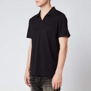 Balmain Men's Embossed Logo Open Collar Polo Shirt - Black
