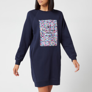 Karl Lagerfeld Women's Floral Address Logo Sweat Dress - Peacoat