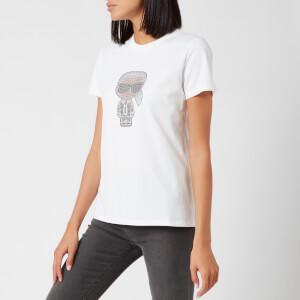 Karl Lagerfeld Women's Ikonic Rhinestone Karl T-Shirt - White