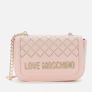 Love Moschino Women's Quilt Stud Detail Shoulder Bag - Pink