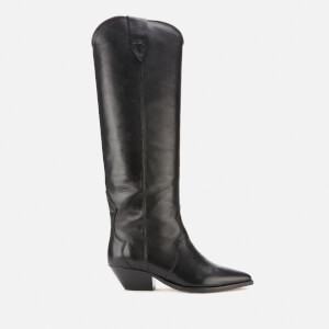 Isabel Marant Women's Denvee Leather Knee High Boots - Black