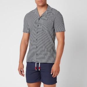 Orlebar Brown Men's Travis Ocean Stripe Capri Collar Shirt - Navy/Almond