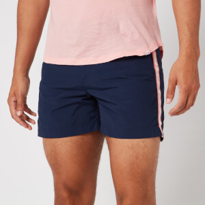 Orlebar Brown Men's Setter Tape Stripe Swim Shorts - Navy/Sundown Pink