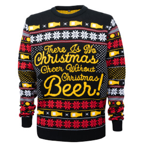 Novelty Christmas Beer Jumper - Black