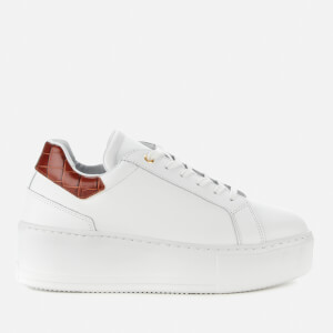 Dune Women's Elden Leather Flatform Trainers - White