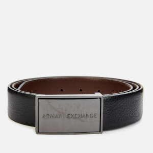 Armani Exchange Men's Solid Buckle Belt - Black