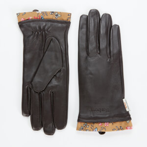 Barbour X Laura Ashley Women's Poplars Leather Gloves - Brown/Indienne