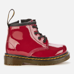 Dr. Martens Toddlers' 1460 Patent Lamper Lace-Up 4 Eye Boots - Dark Scooter Red