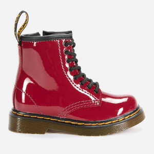 Dr. Martens Toddlers' 1460 Patent Lamper Lace-Up Boots - Dark Scooter Red