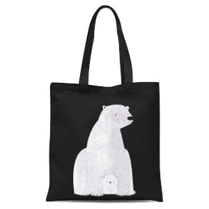 Snowtap Polar Bear And Cub Tote Bag - Black