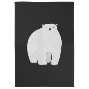 Snowtap Polar Bear Pondering Cotton Tea Towel - Black