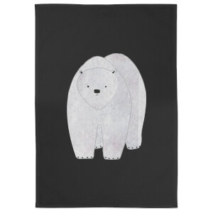 Snowtap Polar Bear Hunched Cotton Tea Towel - Black
