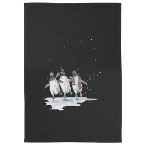 Snowtap Penguins Cotton Tea Towel - Black