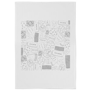 Snowtap Black And White Biscuits Cotton Tea Towel - White