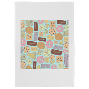 Snowtap Colourful Biscuits Cotton Tea Towel - White