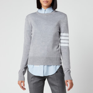 Thom Browne Women's Relaxed Fit Crew Neck Pullover - Light Grey