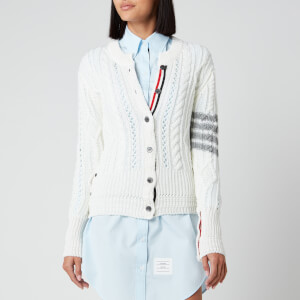 Thom Browne Women's Aran Cable Classic Crew Neck Cardigan - White