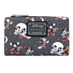 Loungefly Disney Mickey Minnie Halloween Vamp Witch AOP Flap Wallet