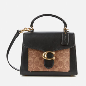 Coach New York Women's Signature Tabby Top Handle 20 Bag - Tan Black