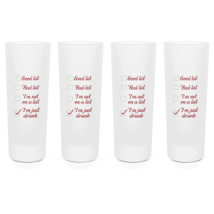 Santa's Drinking List Shot Glasses - Set of 4