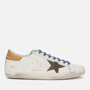 Golden Goose Deluxe Brand Men's Superstar Leather Trainers - White/Drill Green/Brown