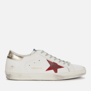 Golden Goose Deluxe Brand Men's Superstar Leather Trainers - White/Dark Red/Platinum