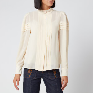 See By Chloé Women's Long Sleeve High Neck Blouse - Angora Beige