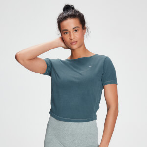 MP Women's Raw Training Washed Tie Back T-shirt - Deep Sea Blue