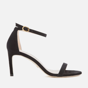 Stuart Weitzman Women's Nunaked Straight Suede Barely There Heeled Sandals - Black
