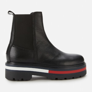 Tommy Jeans Women's Flag Outsole Leather Chelsea Boots - Black