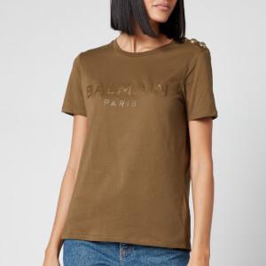 Balmain Women's 3 Button Bronze Logo T-Shirt - Khaki