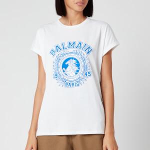 Balmain Women's Flocked Balmain University T-Shirt - White
