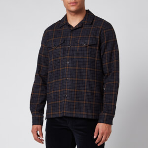 Officine Generale Men's Jonas Brushed Shirt - Navy/Camel