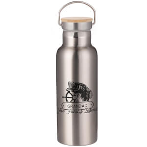 Grandad The Fishing Legend Portable Insulated Water Bottle - Steel