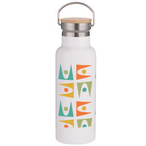 Retro Shapes Portable Insulated Water Bottle - White