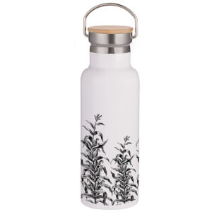 Etched Vines Portable Insulated Water Bottle - White