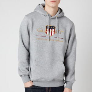 Gant Men's Archive Shield Hoodie - Grey Melange