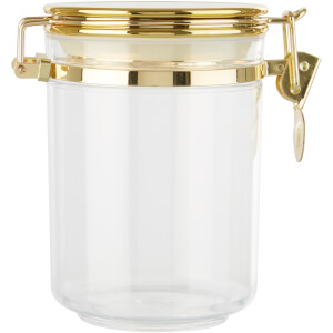 Gozo Transparent Canister - Gold Finish Lid - Medium