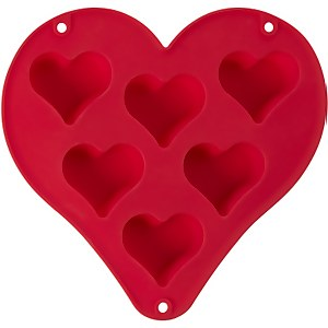 Mimo Heart Shaped 6 Baking Mould - Red Silicone