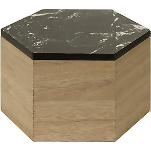 Mimo Hexagon Trinket Box - Black Faux Marble